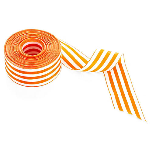 "2"" Stripes Ribbon, Orange/White"