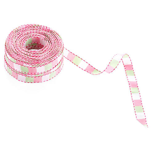 "1/2"" Stitched Ribbon, Pink/Parrot Green"