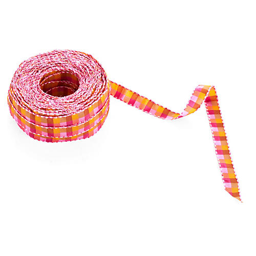 "1/2"" Stitched Ribbon, Fuchsia/Orange"