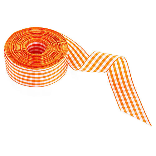 "1.5"" Gingham Ribbon, Orange"