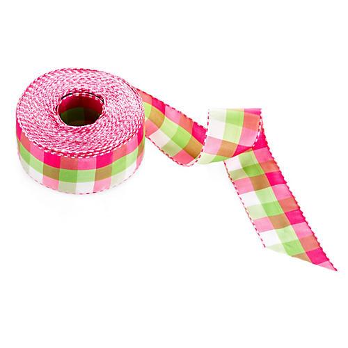 """1.5"""" Solid Check Ribbon, Pink/Green"""