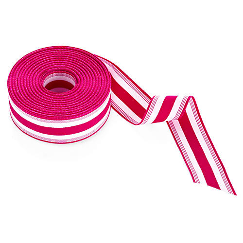 "1.5"" Grosgrain Stripes, Fuchsia/White"