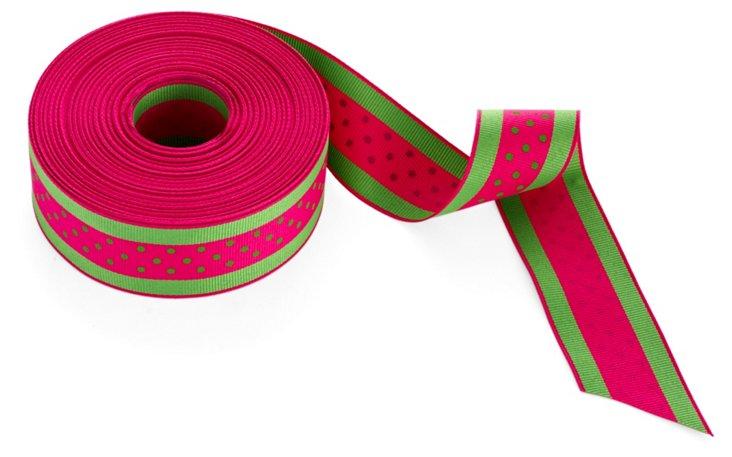 """1.5"""" Dots Ribbon, Green/Hot Pink"""