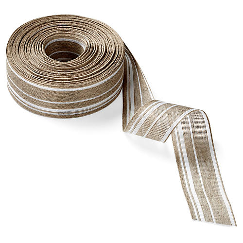 "1.5"" Jute Blend Ribbon, Natural/White"