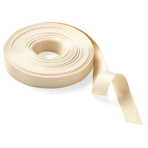 "0.75"" Twill Striped Ribbon, Champagne"