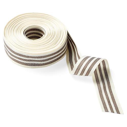 """1.5"""" Woven Stripe Ribbon, Ivory/Brown"""