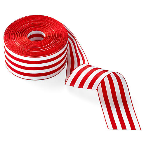 "2"" Stripe Ribbon, Red/White"