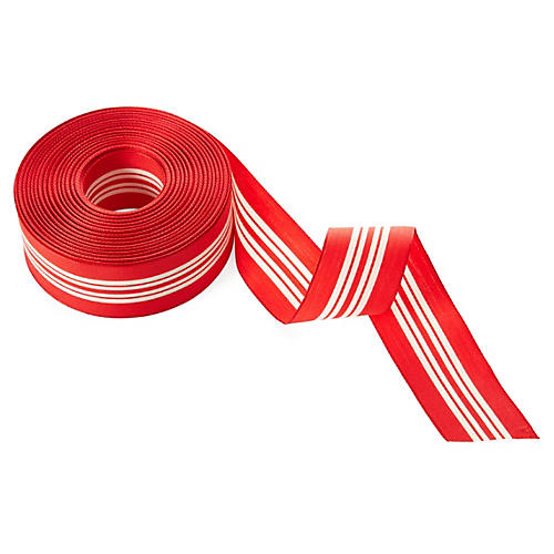 "1.5"" Woven Stripes, Ivory/Red"