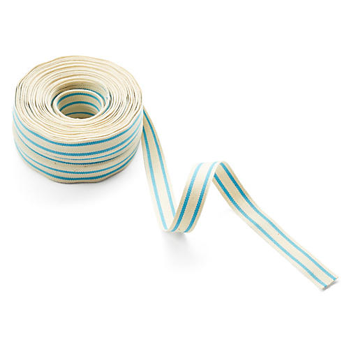 "5/8"" Organic Blend Striped Ribbon, Blue"