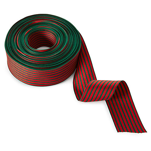 "1.5"" Grosgrain Stripes Ribbon, Red/Green"