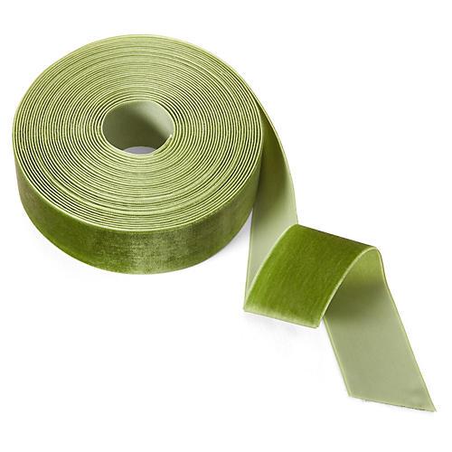 """1.5"""" Velvet Woven Ribbon, Olive"""