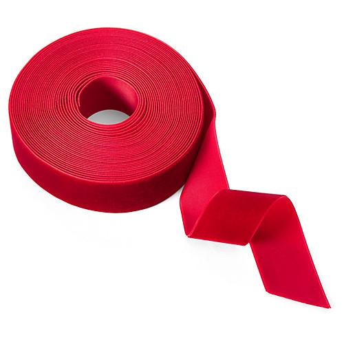 """1.5"""" Velvet Woven Ribbon, Red"""