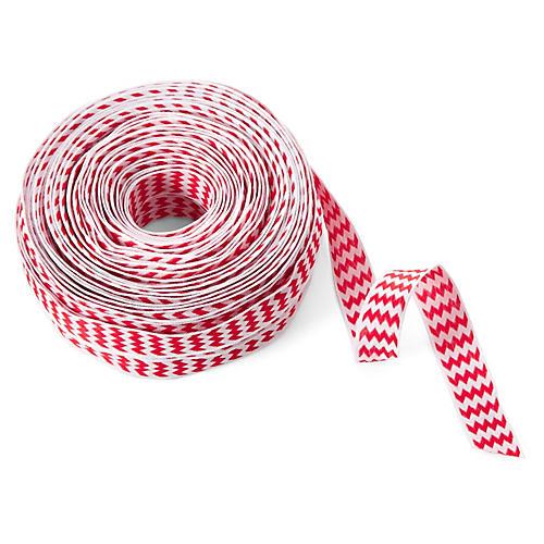 """5/8"""" Woven Chevron Stripes Ribbon, Red"""