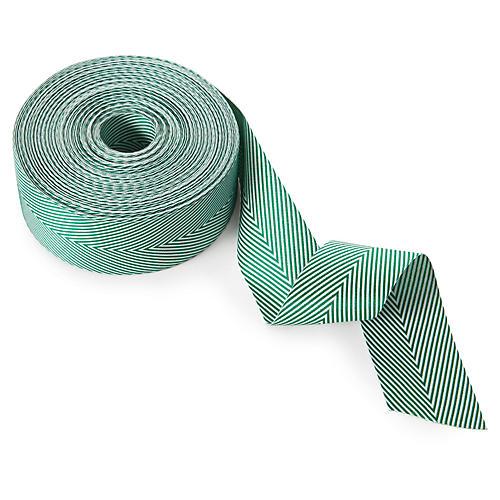 """1.5"""" Chevron Stripes Ribbon, Green"""
