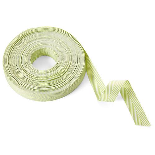 Chevron Striped Ribbon, Celery