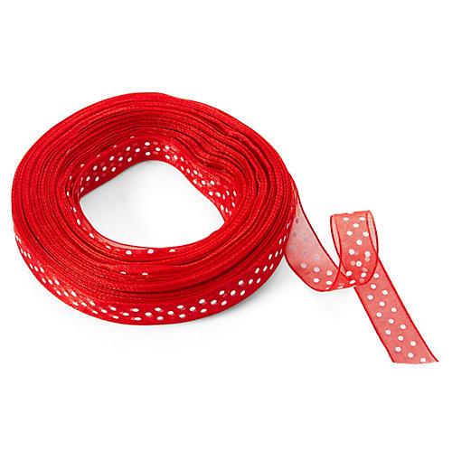 "3/8"" Sheer Dots Ribbon, Red/White"