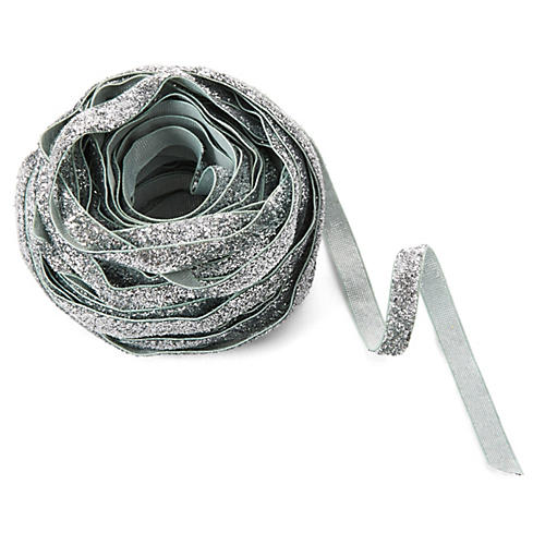 "3/8"" Metallic Velvet Ribbon, Silver"