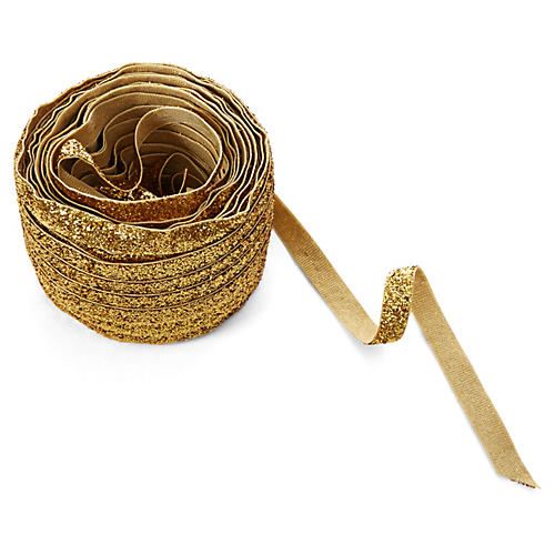 "3/8"" Metallic Velvet Ribbon, Gold"