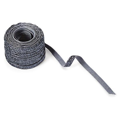 """3/8"""" Metallic Velvet Ribbon, Silver"""