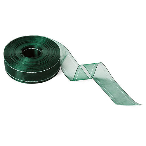 "1.5"" Stitched Edge Ribbon, Forest Green"