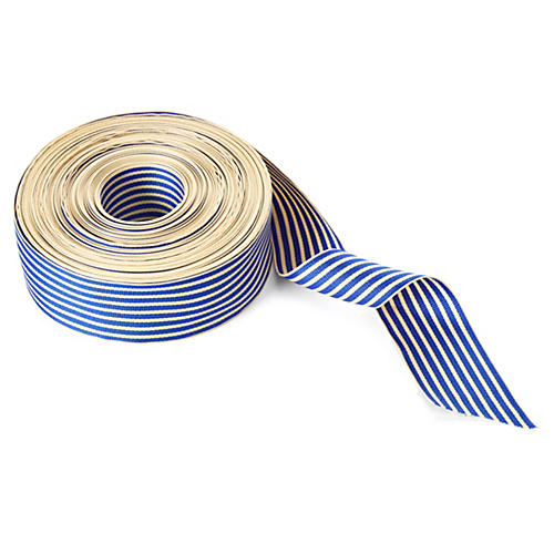 "1.5"" Grosgrain Stripe Ribbon, Blue/Ivory"