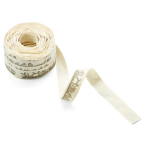 "3/4"" Ivory Canvas Ribbon, Spring Bunny"