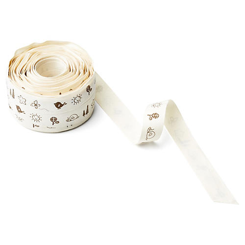 "3/4"" Ivory Canvas Ribbon, Springtime"