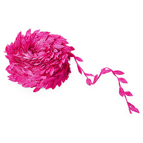 "1"" Leaves Ribbon, Fuchsia"