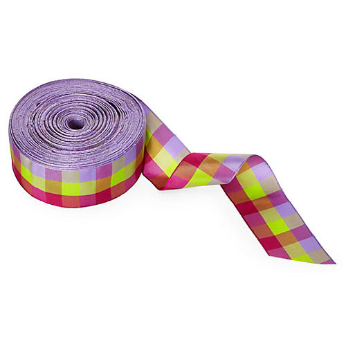 "1.5"" Checked Ribbon, Purp/Pink/Green"