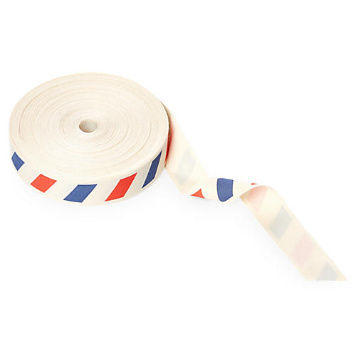 """3/4"""" Ivory Canvas Ribbon, Red/Blue"""