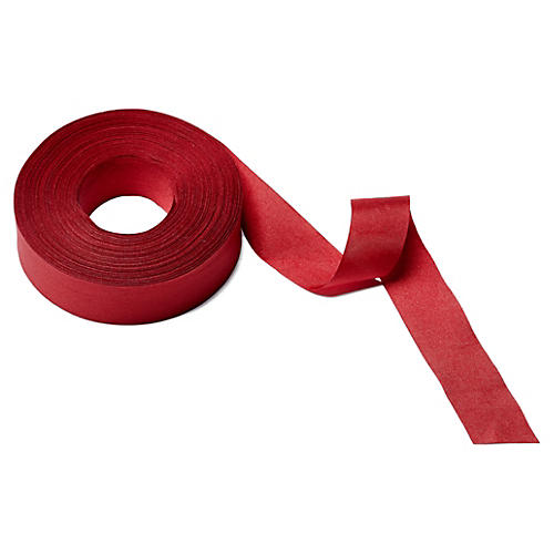 """1"""" Solid/Wrinkled Ribbon, Red"""
