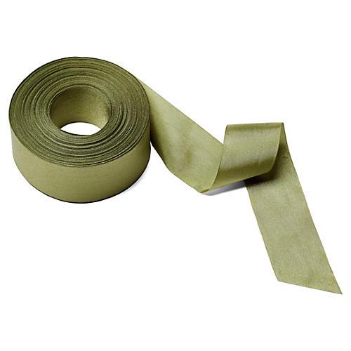 """1.5"""" Solid/Wrinkled Ribbon, Olive"""