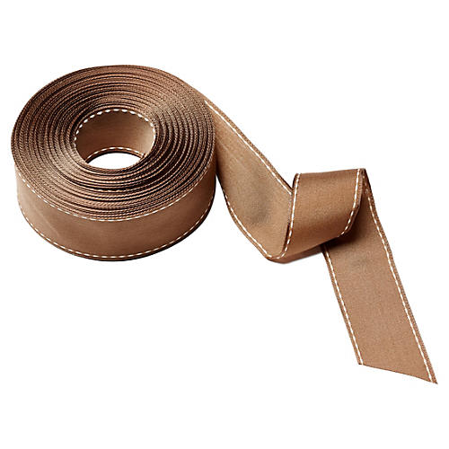 "1.5"" Stitched Edge Ribbon, Brown/Natural"