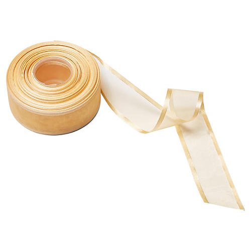 """1.5""""Sheer/Satin Band Ribbon, Gold"""