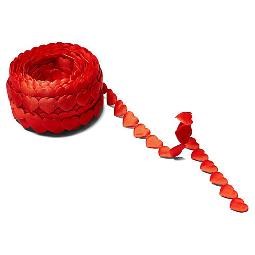 "3 4"" Satin Hearts Ribbon, Red"