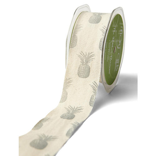 Pineapple Cotton Ribbon, Gray
