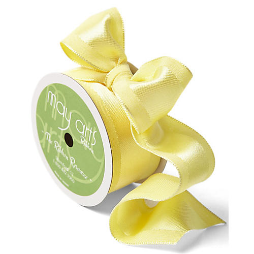 25-Yd Wired Upholstery Ribbon, Lemon