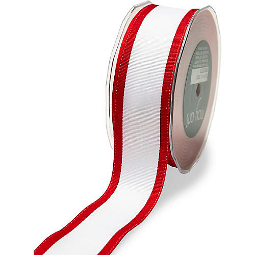 Color-Edge Grosgrain Ribbon, Red/White