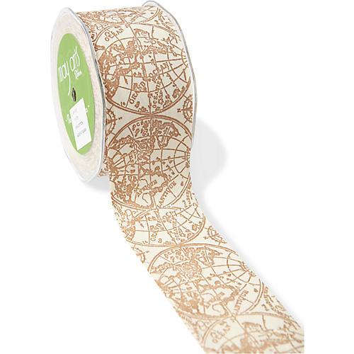 Globe Ribbon, Ivory/Brown