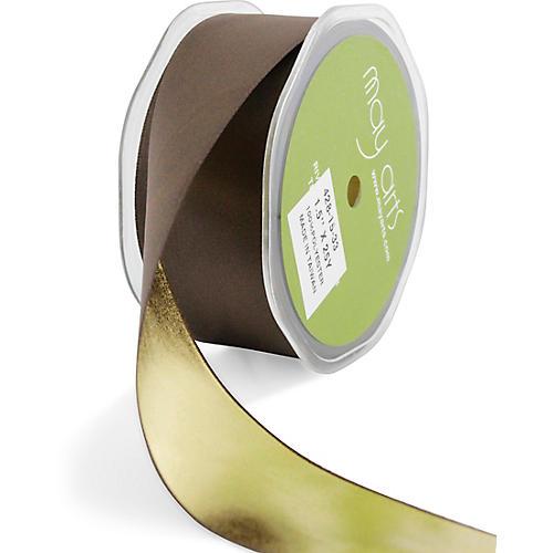 Metallic Reversible Ribbon, Brown
