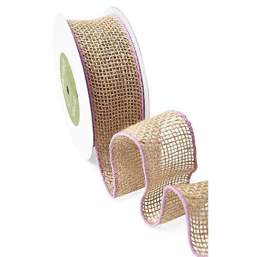 Wired Burlap Ribbon, Violet/Tan
