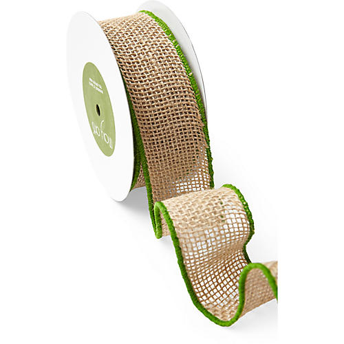 Wired Burlap Ribbon, Green/Tan