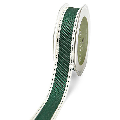 Silky Canvas Ribbon, Green/White