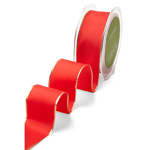 Wired Metallic Edge Ribbon, Red/Gold
