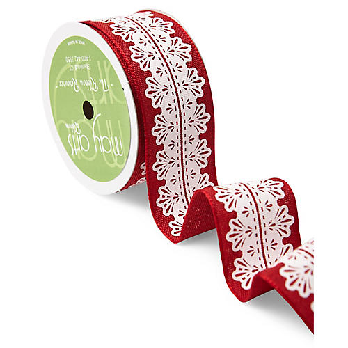 Lace Center Ribbon, Red/White