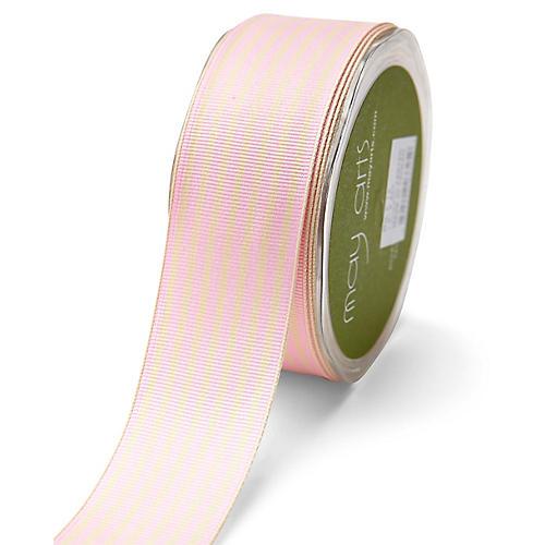 Grosgrain Stripe Ribbon, Pink/White