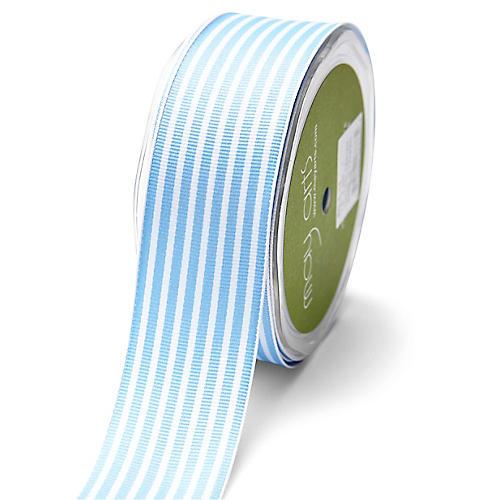 Grosgrain Stripe Ribbon, Blue/White