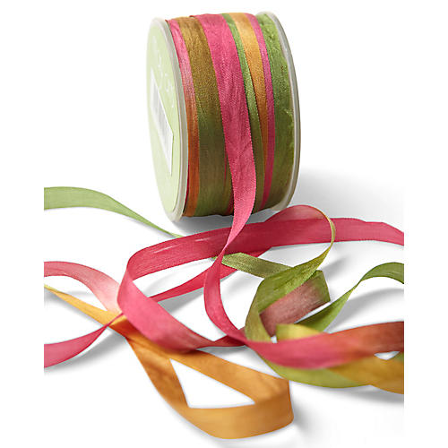 Two-Tone Silk Ribbon, Pink/Multi