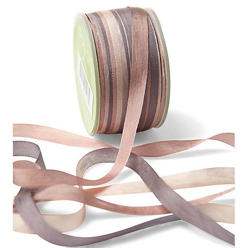 Two-Tone Silk Ribbon, Pink/Purple