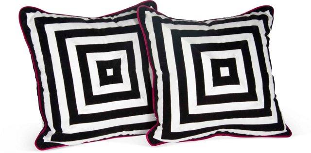 Black & White Stripe Pillows, Pair